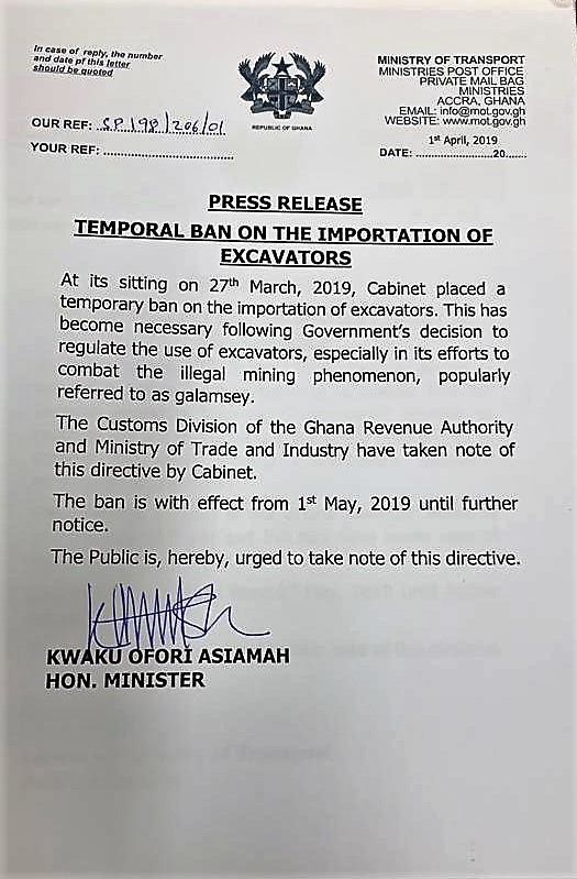 TEMPORAL BAN ON THE IMPORTATION OF EXCAVATORS